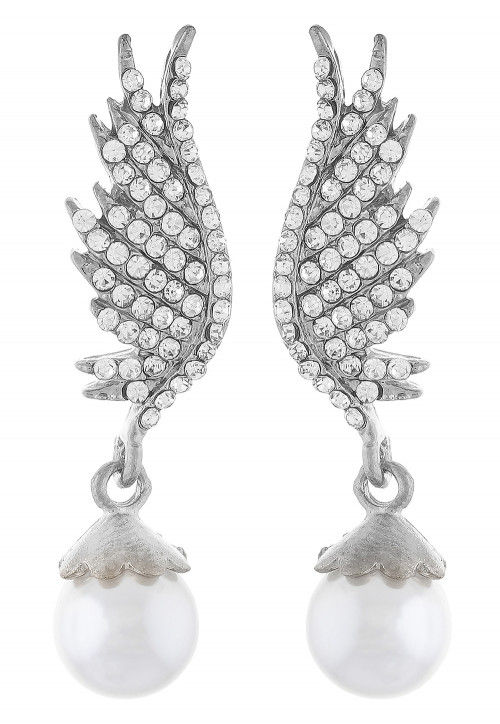 Stone Studded Earring in Silver