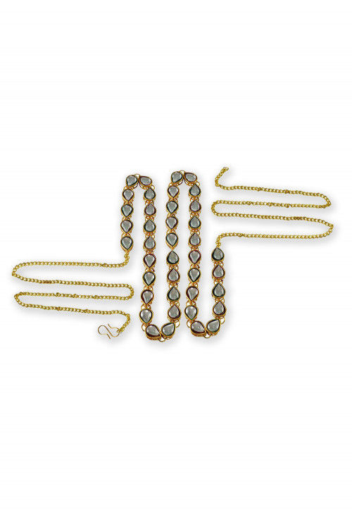 Stones Studded Waist Chain in Golden and White