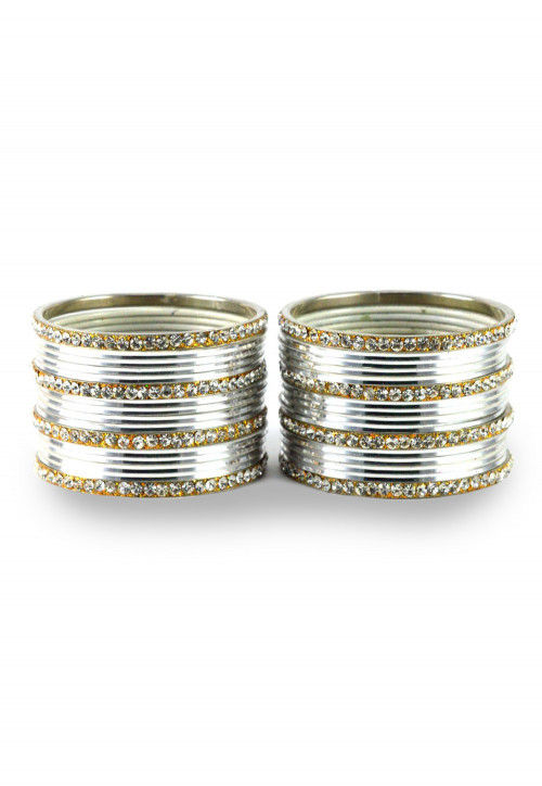 Stone Studded Bangle Set in Silver