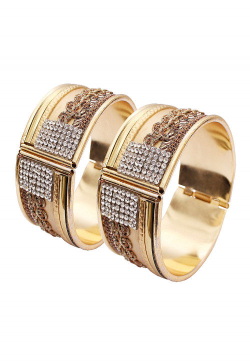 Stone Studded Openable Pair of Bangles