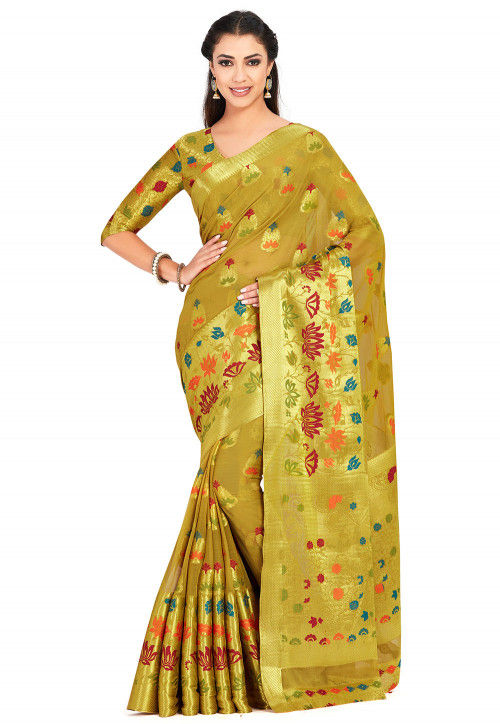 Kanchipuram Chiffon Saree in Olive Green