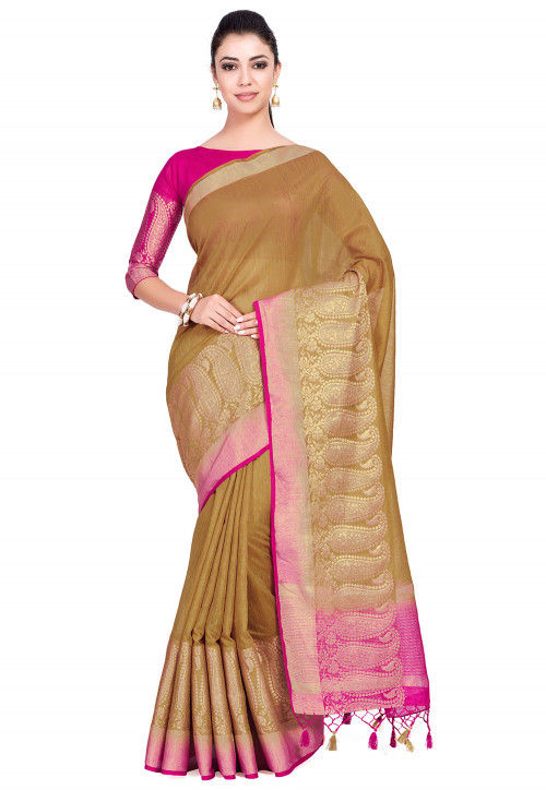 Kanchipuram Linen Saree in Beige