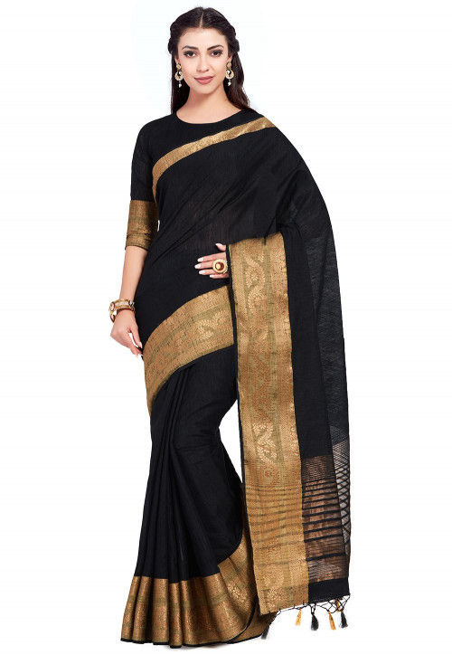 Kanchipuram Linen Saree in Black