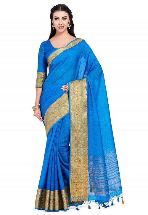 Kanchipuram Linen Saree in Blue