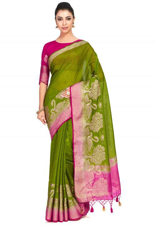 Kanchipuram Linen Saree in Olive Green