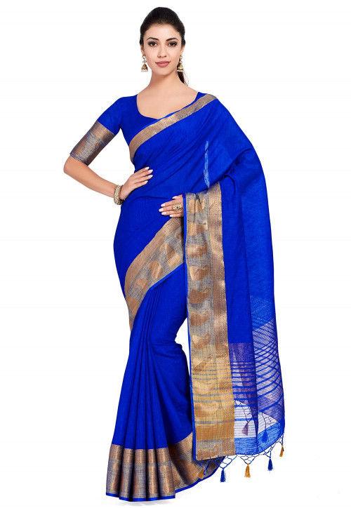 Kanchipuram Linen Saree in Royal Blue