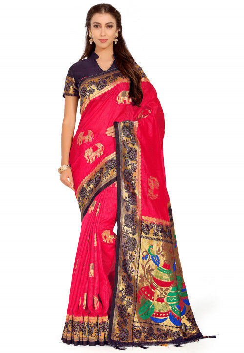 Kanchipuram Saree in Fuchsia