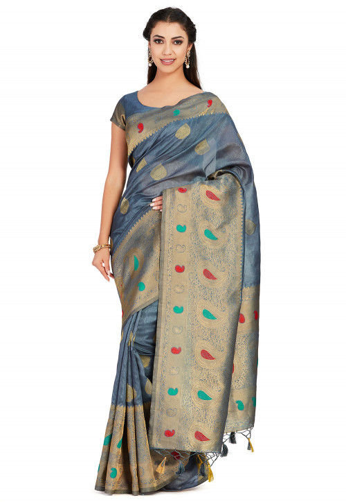 Kanchipuram Saree in Grey
