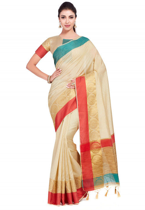 Kanchipuram Saree in Light Beige