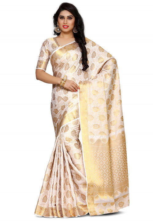 Kanchipuram Saree in Off White