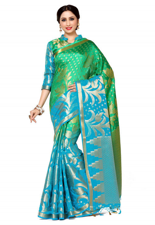 Kanchipuram Saree in Teal Green and Blue