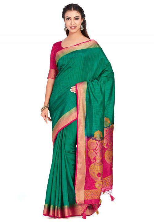 Kanchipuram Saree in Teal Green