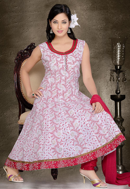 Printed Cotton Anarkali Suit in Off White