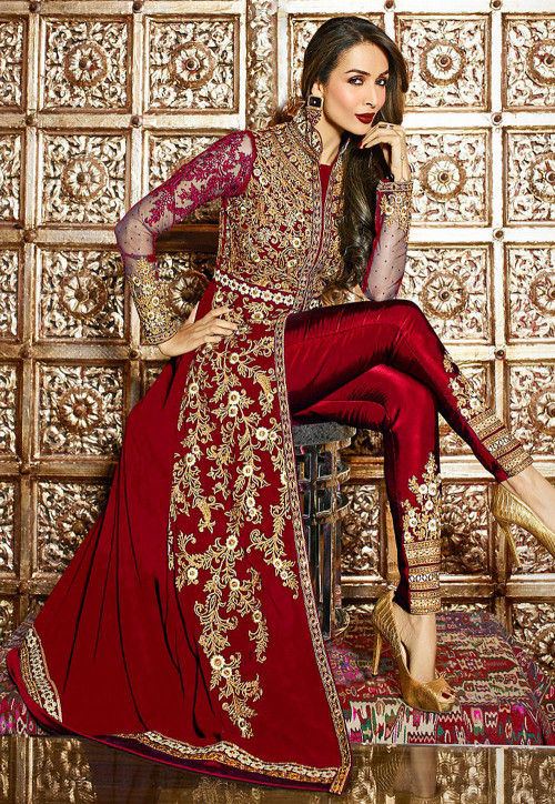 Embroidered Georgette and Net Pakistani Suit in Maroon