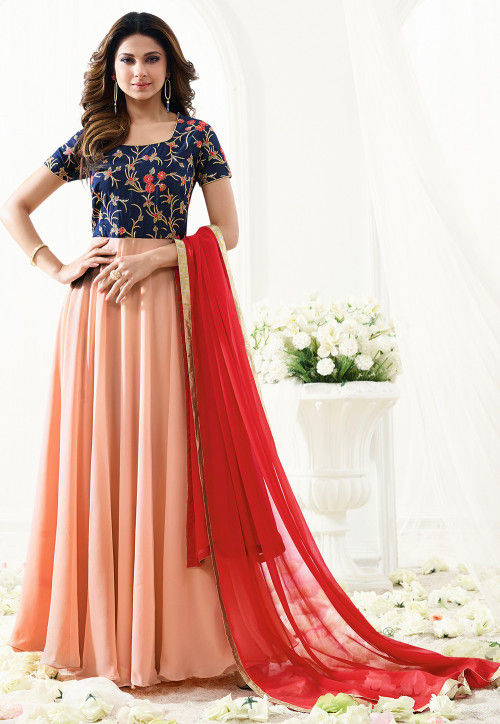 Embroidered Georgette Abaya Style Suit in Peach and Navy Blue