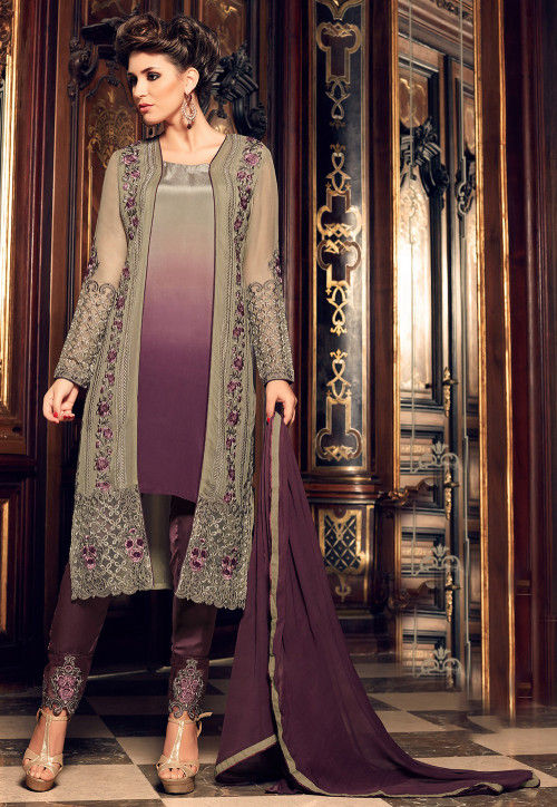 Embroidered Georgette Pakistani Suit in Beige and Violet