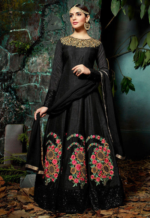 Embroidered Art Silk Abaya Style Suit in Black