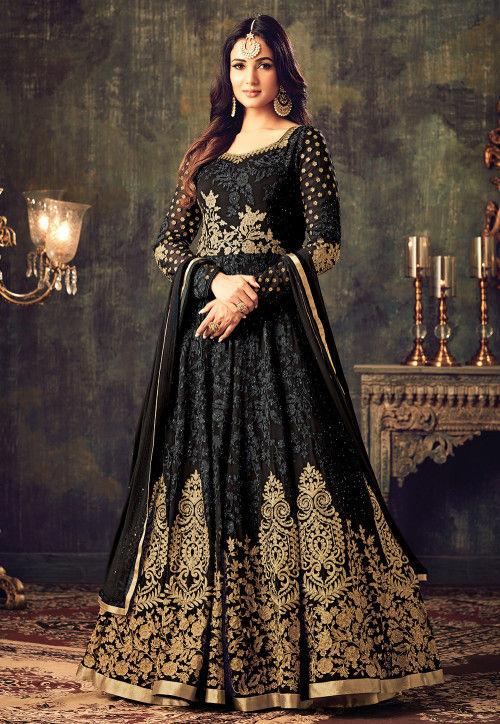 Embroidered Georgette Abaya style Kameez in Black