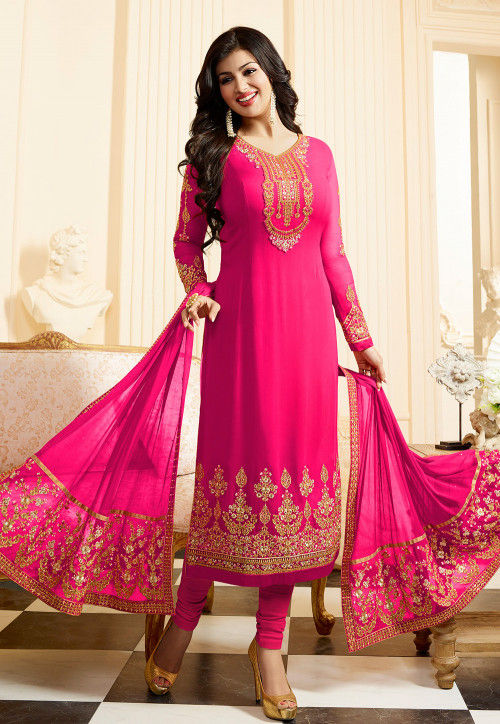 Embroidered Georgette Straight Suit in Fuchsia