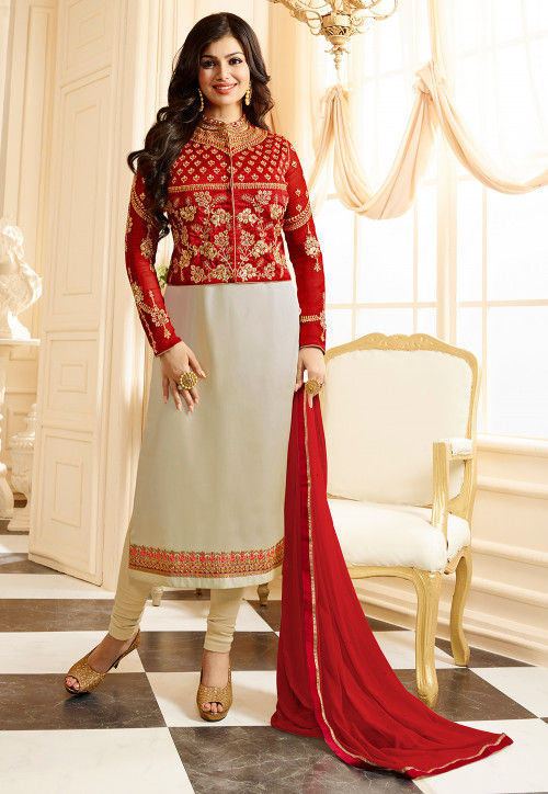 Embroidered Georgette Straight Suit in Light Beige