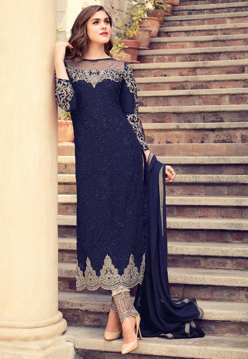 79cfa0639c Embroidered Georgette Pakistani Suit in Navy Blue : KCH849