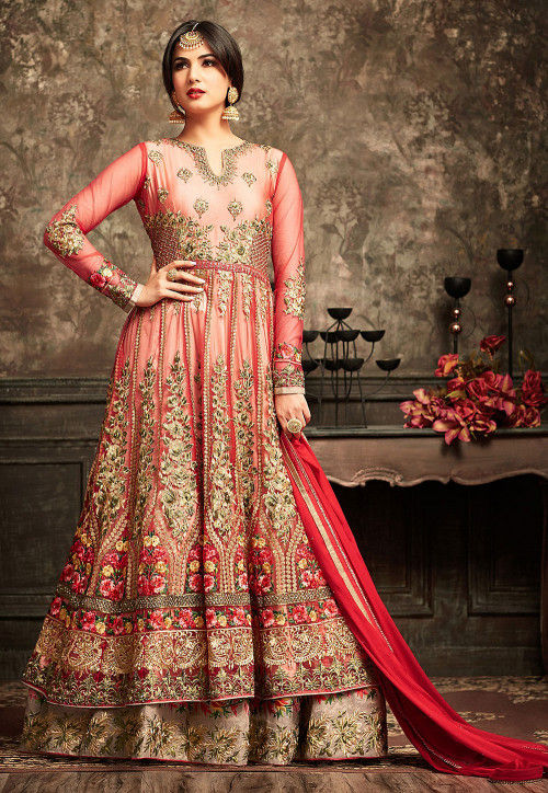 Embroidered Net Abaya Style Suit in Red