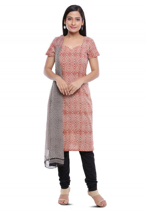 Block Printed Cotton Straight Suit in Beige
