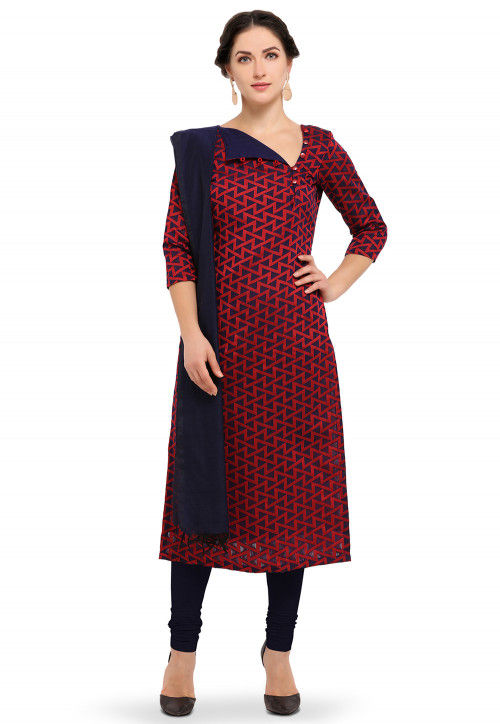 Woven Cotton Silk Straight Suit in Navy Blue and Red