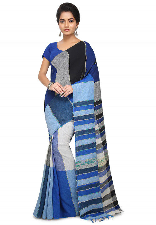 Khesh Woven Cotton Saree in Blue and Multicolor