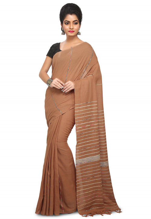 Khesh Woven Cotton Saree in Brown