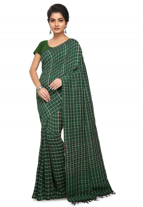 Khesh Woven Cotton Saree in Dark Green