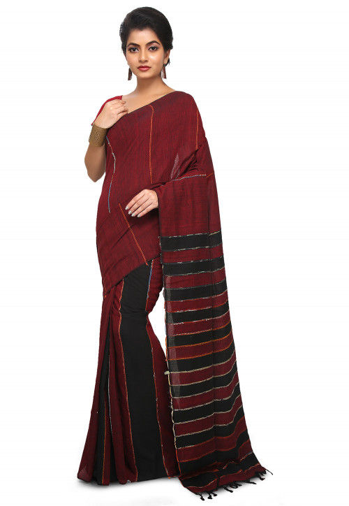 Khesh Woven Cotton Saree in Maroon and Black