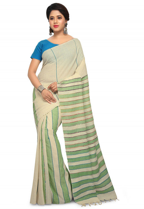 Khesh Woven Cotton Saree in Off White and Light Green