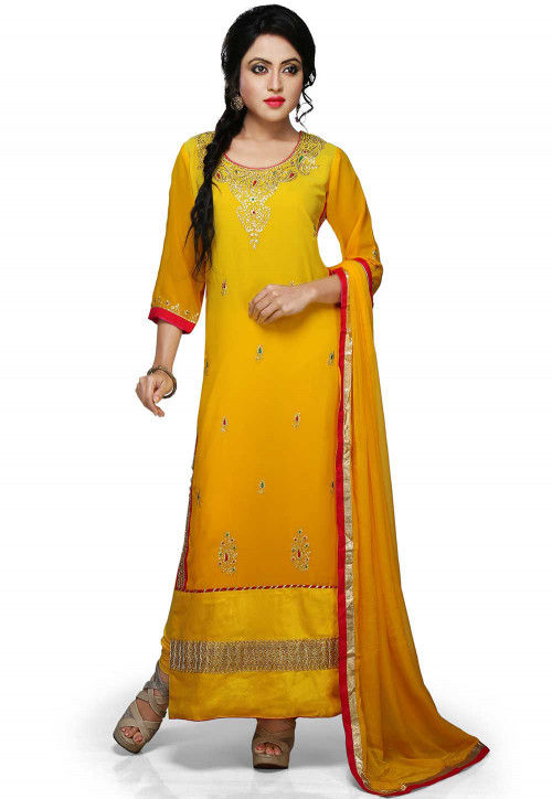 Embroidered Straight Cut Suit In Shaded Yellow