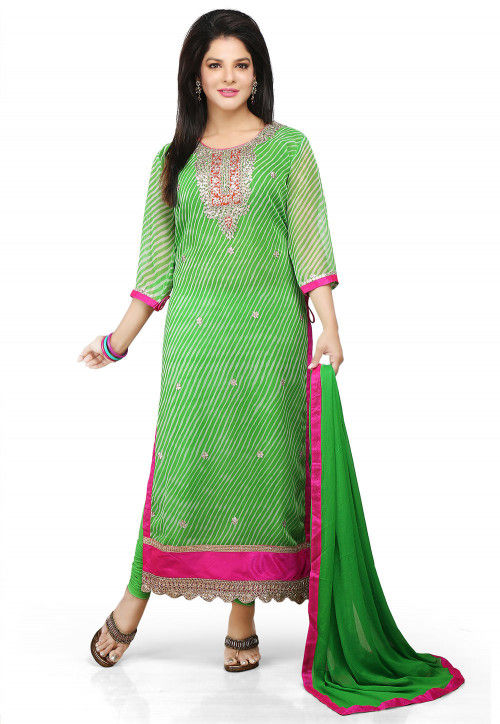 Printed Straight Cut Suit In Green