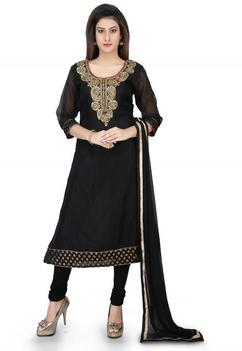 Embroidered Chanderi Cotton A Line Suit in Black