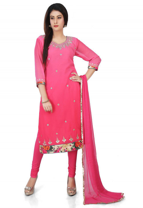 Embroidered Georgette Straight Suit in Pink Ombre