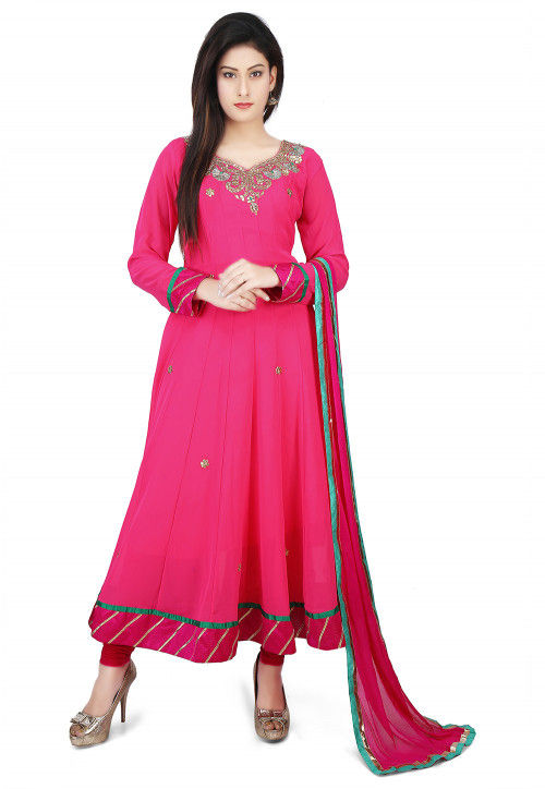 Embroidered Georgette Anarkali Suit in Fuchsia