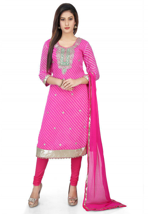 Pure Georgette Embroidered Straight Suit in Pink