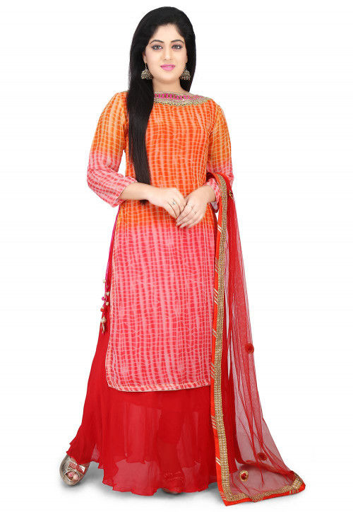 Shibori Dyed Georgette Abaya Style Suit in Orange and Red