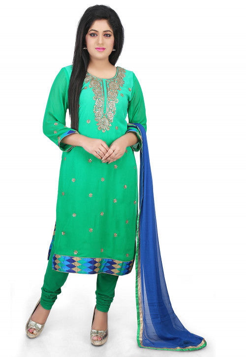 Gota Patti Georgette Straight Suit in Teal Green Ombre
