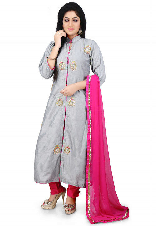 Gota Patti Embroidered Cotton Silk Pakistani Suit in Grey
