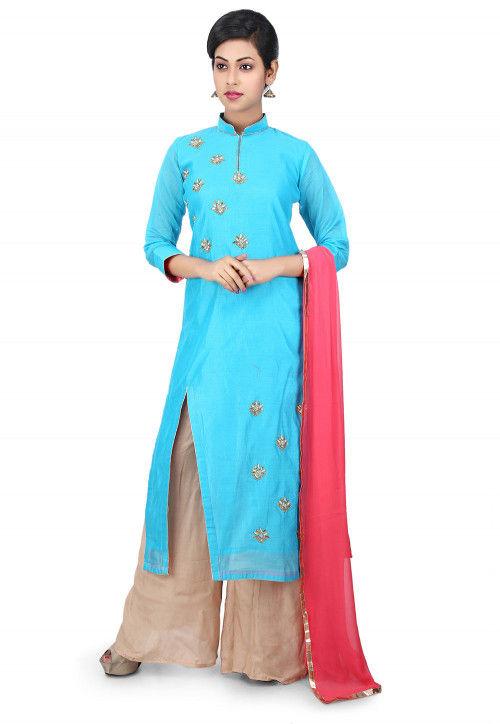 Gota Patti Embroidered Cotton Chanderi Pakistani Suit in Blue