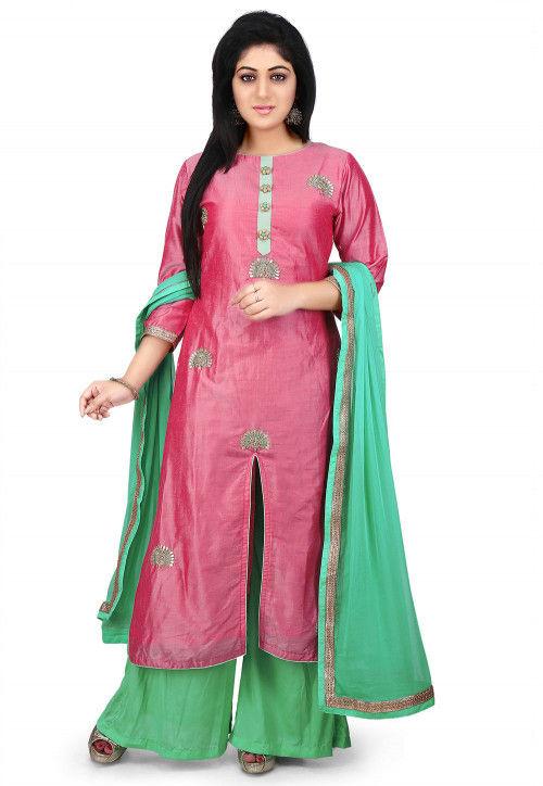 Gota Patti Embroidered Cotton Silk Pakistani Suit in Old Rose