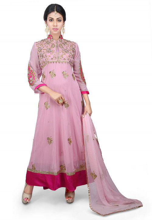 Gota Patti Georgette Abaya Style Suit in Baby Pink