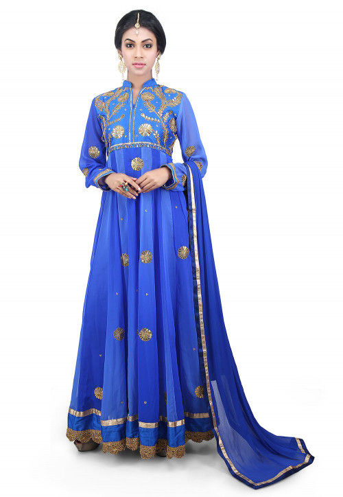 Gota Patti Georgette Abaya Style Suit in Blue