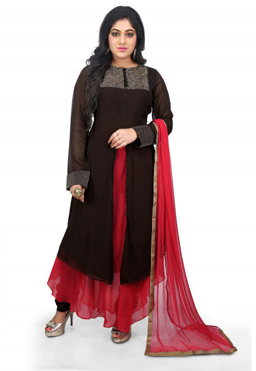 Plain Georgette Flared Suit in Brown and Red