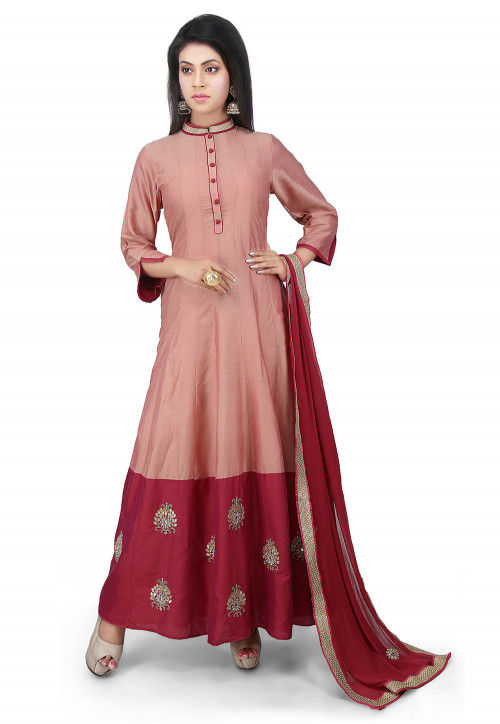 Embroidered Cotton Silk Abaya Style Suit in Peach