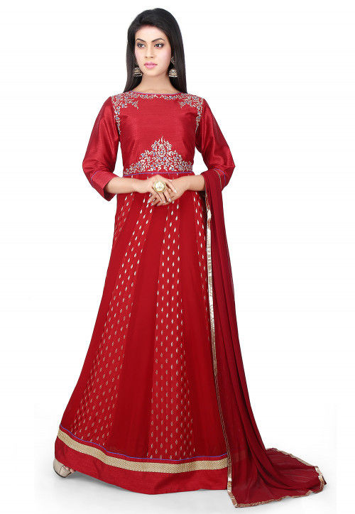 Embroidered Georgette and Crepe Abaya Style Suit in Maroon
