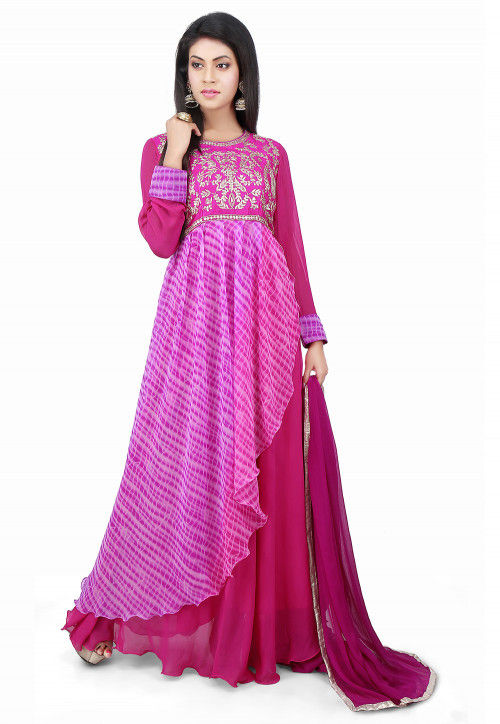 Embroidered Georgette Layered Abaya Style Suit in Fuchsia
